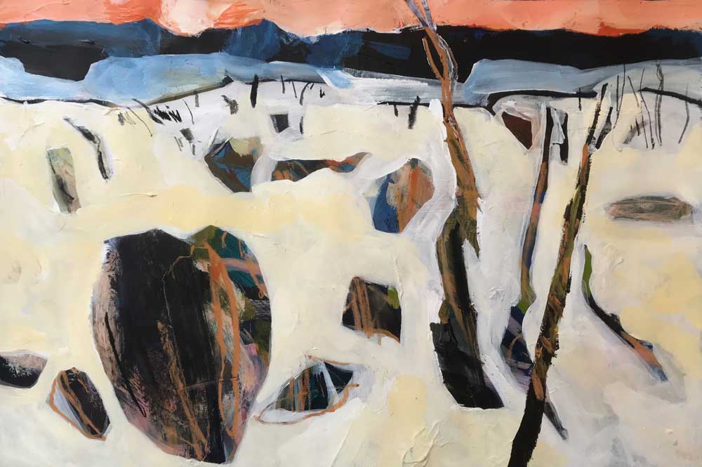 Abstract painting of barren landscape in white and brown with dark blue mountains in the background under and orange sky