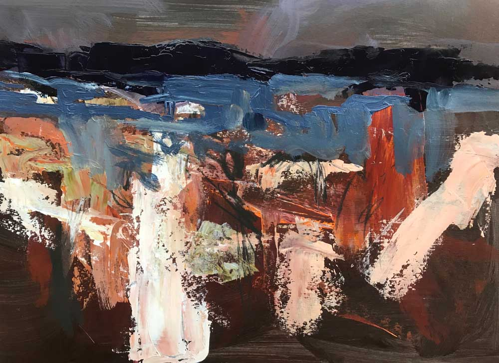Abstract painting of a dramatic landscape in blue, orange, cream and brown
