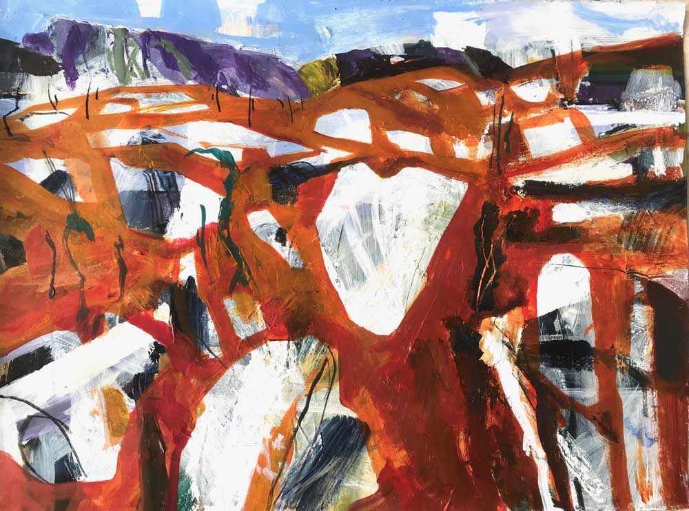 Abstract painting of a wild orange, white and grey landscape with dark purple mountains in the background and a blue sky above.