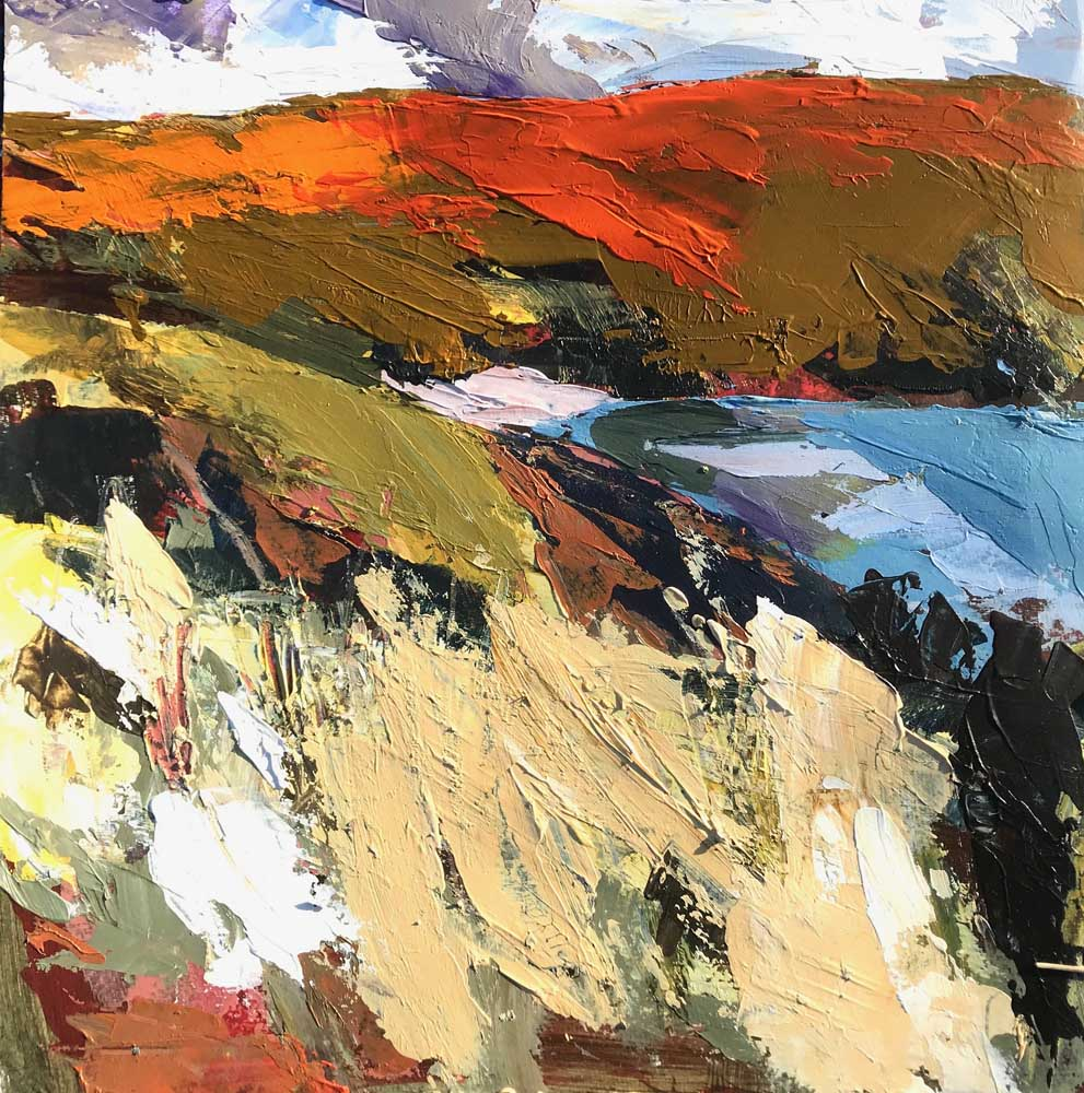 Abstract painting of a landscape in olive, orange and cream with blue grey sky and water