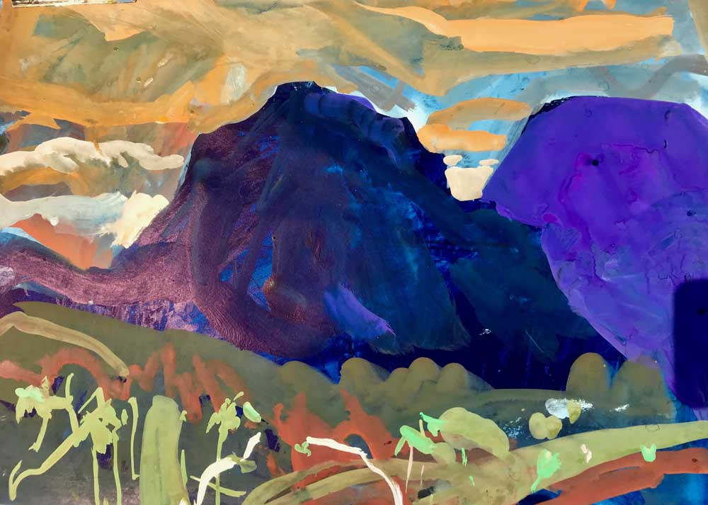 Acrylic painting of purple and orange twilight on a mountainous landscape