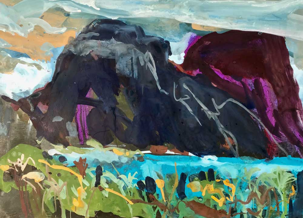 Acrylic painting of imposing twin mountains in shades of blue and purple.