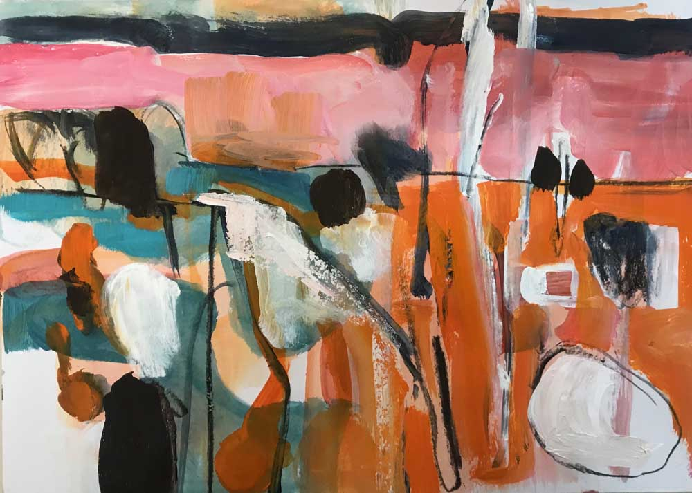 Abstract painting of the shore in orange, pink, white and sea green