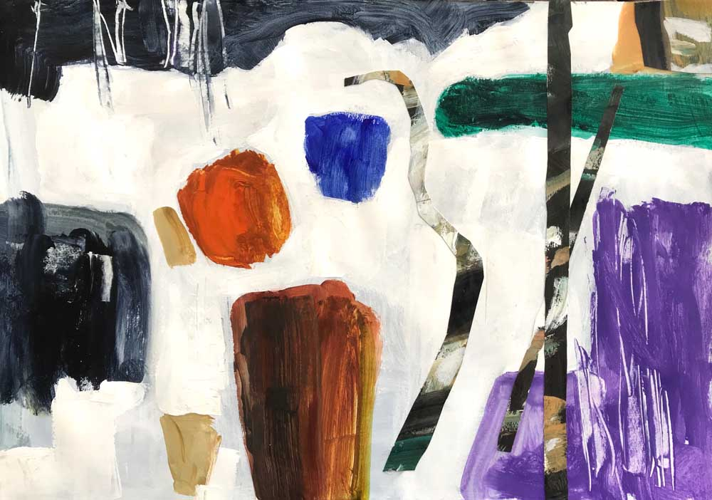 Abstract Mike Staniford painting depicting moon like hues of white, grey, brown and purple