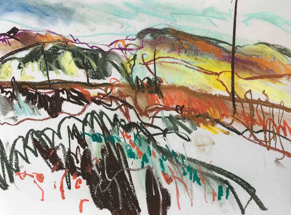 Pastel drawing of an open moorland landscape in shades of brown and green